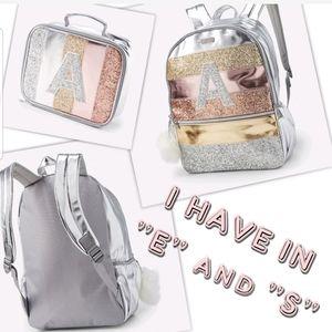 Bling glitter metallic girls backpack w/ lunch bag